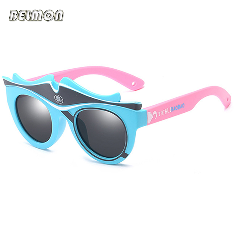 Fashion Kids Polarized Sunglasses Brand Cartoon Sun Glasses Boys&Girls Baby Suitable For Children Aged 3-10 Silicone Frame RS590