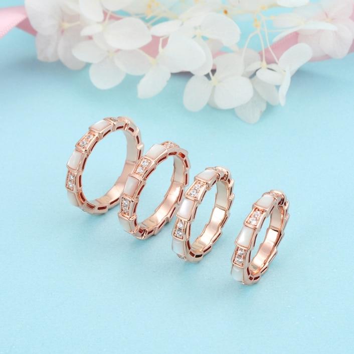 Pur 925 bijoux en argent Sterling pour les femmes serpent anneaux pleine pierre serpent anneaux de mariage bijoux de fête de luxe 5.6.7.8 anneau