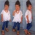 Fashion Girl Conjunto de Roupas Casuais Meninas Roupas de Verão 3 pcs Tops + Colete + Calça Jeans Meninas Roupas Meninas Da Criança Definir crianças Roupas casuais