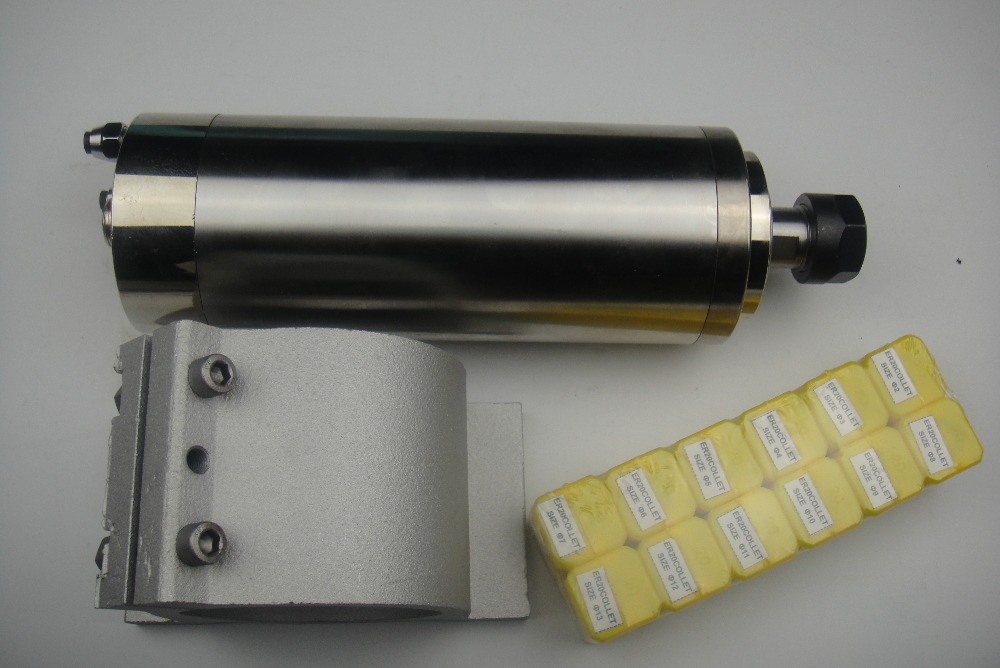CNC frees spindl ER20 2.2KW vesijahutusega spindl + 1-osaline spindli tugi +12 tükki ER20 kogub