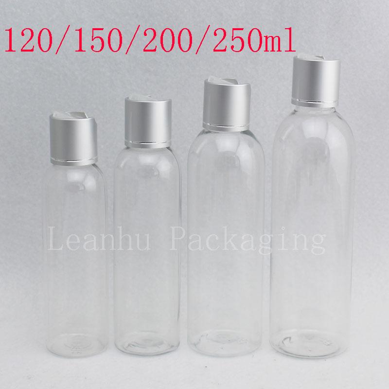 120ml 150ml 200ml 250ml Empty Transparent Plastic Container Silver Disc Top Cap Cosmetics Liquid Soap Bottles Shampoo Lotion