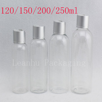 120ml 150ml 200ml 250ml Empty Transparent Plastic Container Silver Disc Top Cap Cosmetics Liquid Soap Bottles Shampoo Lotion