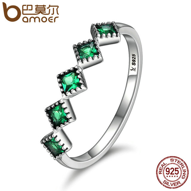 BAMOER High Quality 925 Sterling Silver Stackable Square Green CZ Finger Rings f