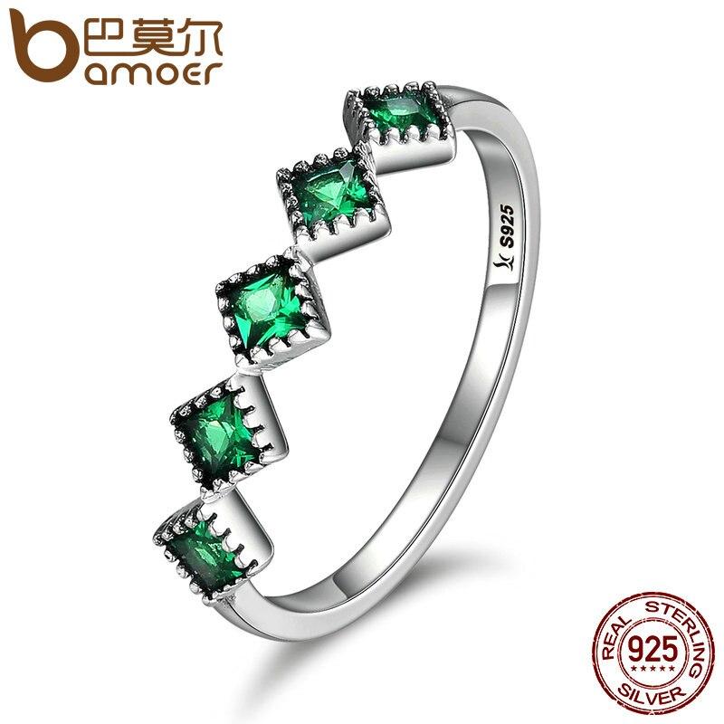 BAMOER de alta calidad de plata esterlina 925 apilable cuadrado verde CZ anillos de dedo para las mujeres boda compromiso regalo de la joyería de SCR097