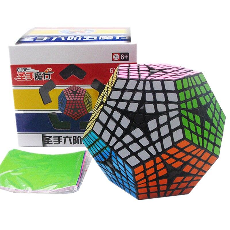 6x6x6 Megaminx Wumofang noir/blanc Twist Puzzle autocollants Cube professionnel Puzzle 6x6 Cube vitesse classique jouets