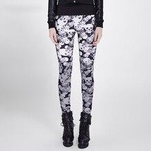 Gothic Women Skull Pattern Leggings Colorful Stretch Leggings for Women Steam Punk Skinny Pants