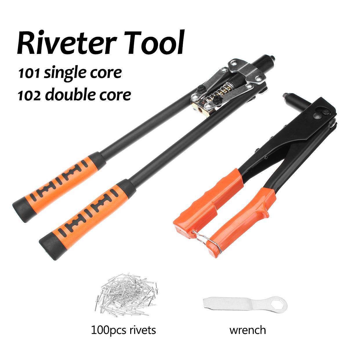 1pc Hand Riveter 101 Single Core/102 Double Core Pulling Handle Riveting Machine Riveter Tool + 100Pcs Assorted Rivets Kit