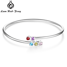 купить Personalized 12 Month Birthstone 925 Sterling Silver Bracelets & Bangles DIY Fine Jewelry Gift for Girlfriend (Lam Hub Fong) по цене 652.72 рублей