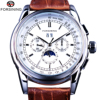 Forsining Moonphase Calendar Display Brown Leather ShangHai Automatic Movement Mens Watches Top Brand Luxury Mechanical Watches