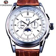 Forsining Mondphase Kalender Display Braun Leder ShangHai Automatische Bewegung Herren Uhren Top Brand Luxus Mechanische Uhren