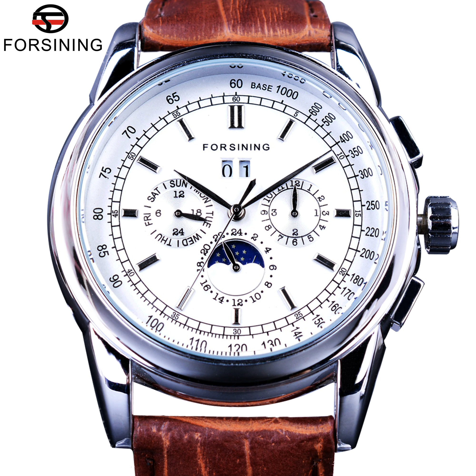 Forsining Moonphase Calendar Display Brown Leather ShangHai Automatic Movement Mens Watches Top Brand Luxury Mechanical Watches forsining 3d skeleton twisting design golden movement inside transparent case mens watches top brand luxury automatic watches