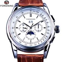 Forsining moonphase calendário display couro marrom shanghai movimento automático dos homens relógios de marca superior luxo relógios mecânicos