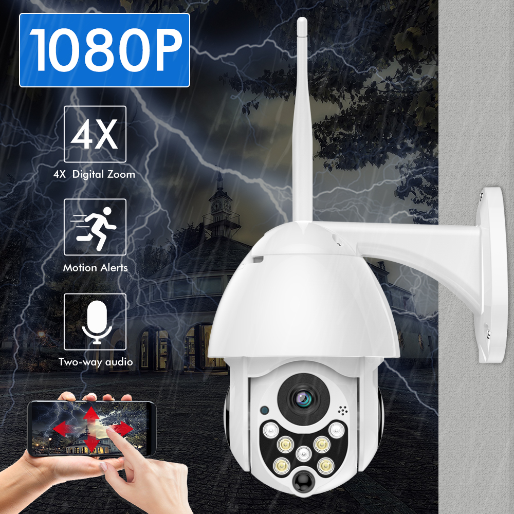 SDETER 1080P Wireless IP Camera Speed Dome PTZ WIFI Outdoor IP66 Two Way Audio Night Vision