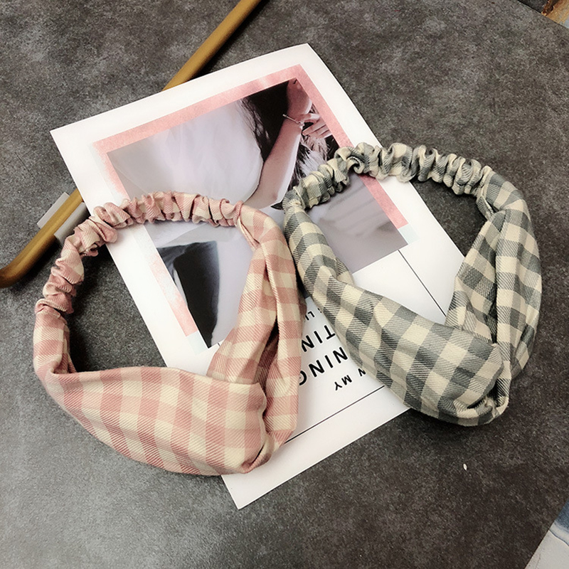 Korean Women Hair Accessories Headwear Fabric Headband Simple Sweet Bandanas Lady Plaid Hair Band in Women 39 s Hair Accessories from Apparel Accessories