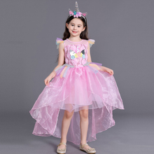 Fashion Girls Kids Unicorn Rainbow Princess Tutu Dancing Dress Children Halloween Horse Cosplay Costume Long Party