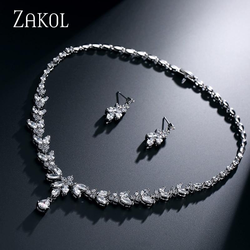 ZAKOL Simple Fashion Leaves Earrings Sliver Color Necklace Weddings