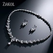 ZAKOL Simple Fashion Leaves Earrings Sliver Color Necklace Weddings Jewelry Sets With AAA+ CZ Zirconia FSSP180
