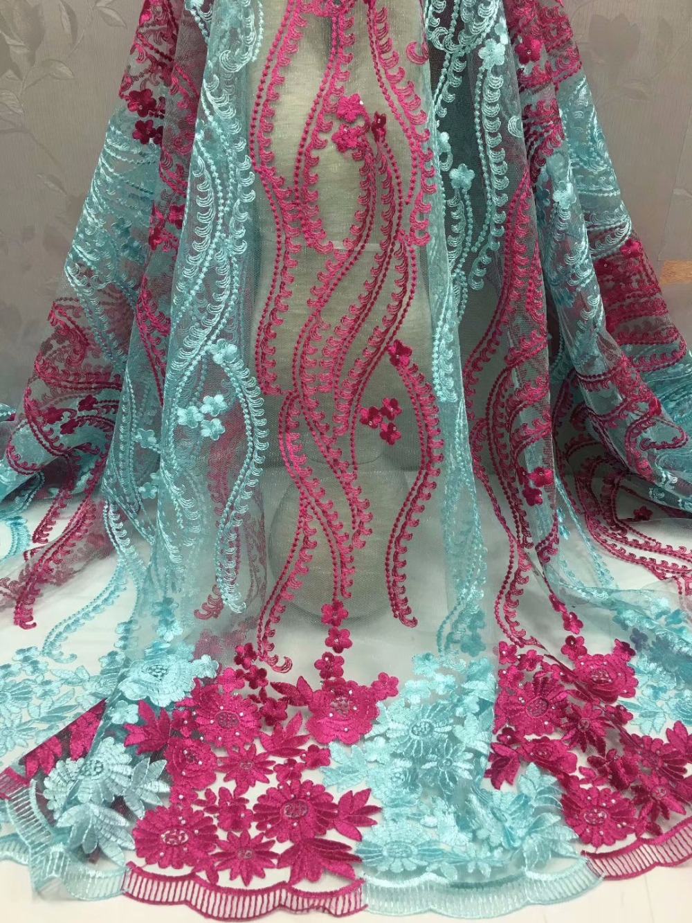 Classic design  african net tulle lace fabric  fashion french lace fabric embroidery lace fabric for women dress   ydm163Classic design  african net tulle lace fabric  fashion french lace fabric embroidery lace fabric for women dress   ydm163