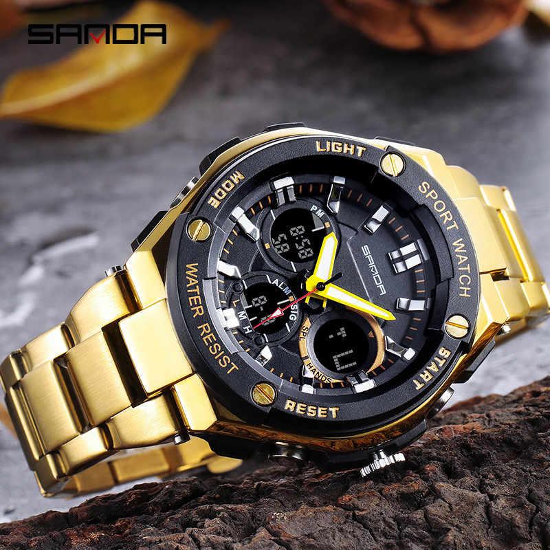 Sanda, двойной дисплей, кварцевые часы для мужчин, роскошный бренд, нержавеющая сталь, золото, спортивные мужские часы, водонепроницаемые мужские часы 2019