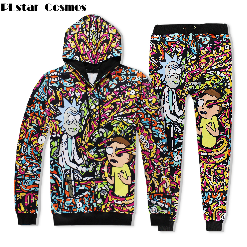 PLstar Cosmos Brand clothing Sweatshirts 2018 New Fashion Men/Women Hooded Sets 3d Print rick and morty Hooded Hoodies