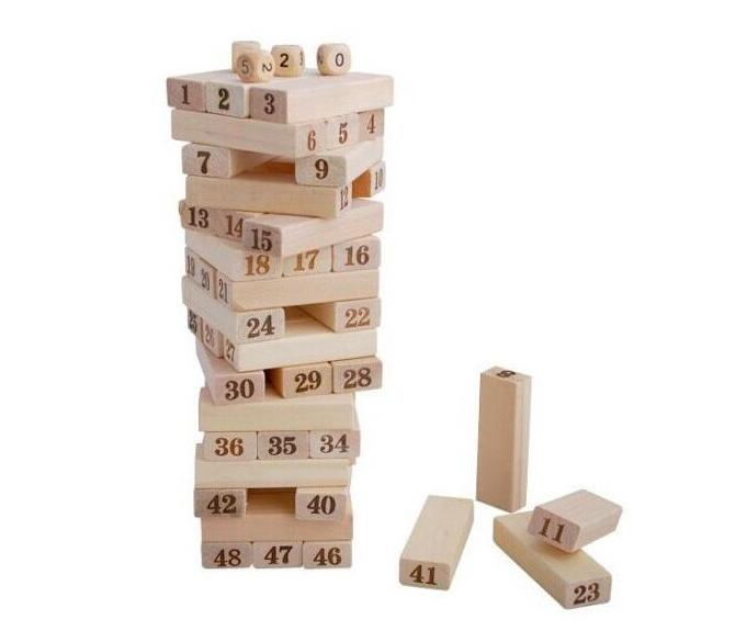 51PCS Wooden Tower Wood Building Blocks Toy Domino Stacker Extract Building Educational Jenga Game Gift wooden building blocks toy domino stacker cartoon animals diy disassembling model jenga education toy for baby kids children