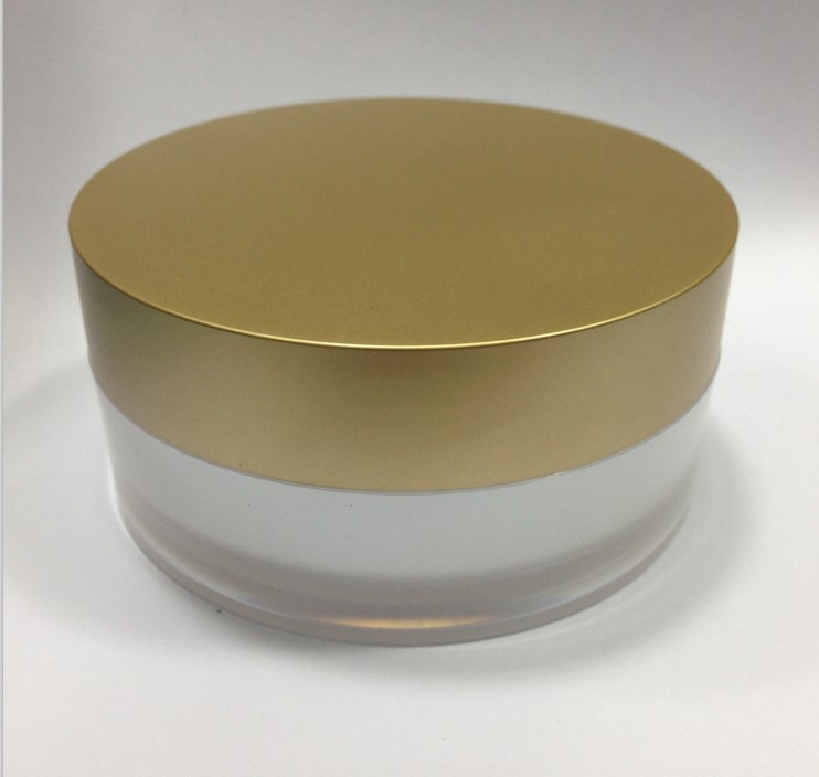 100G acrylic pearl white roundcream jar with matt gold lid for mask cream cream using plastic