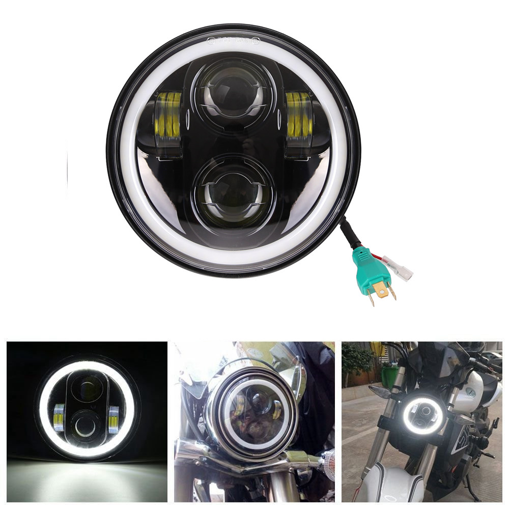 5 3/4 5.75 Inch Daymaker LED Headlight Halo with DRL for Harley Davidson Motorcycles