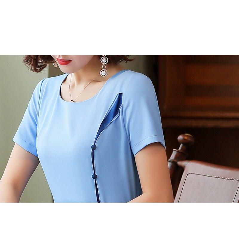 Plus la Taille Robe Femmes Splice OL tempérament Robe O Cou à Manches courtes Élégant Slim A-ligne Robe 2019 d'été S-4XL bleu /rose - 6