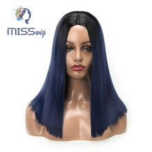 MISS WIG yellow/Blue/Grey Short Straight Heat Resistant Synthetic Hair Wig For Black/White Women Cosplay Or Party Bob Wigs