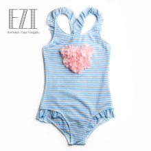 July Sand 2018 children swimsuit baby girl swimwear bowknot decorated flower soft skin care pom pom one-piece swimsuit 010175
