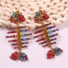 Rainbow Fish Drop Earrings for Women Colorful/Silver Crystal Earring Bohemian Long Oorbellen Voor Vrouwen 2019