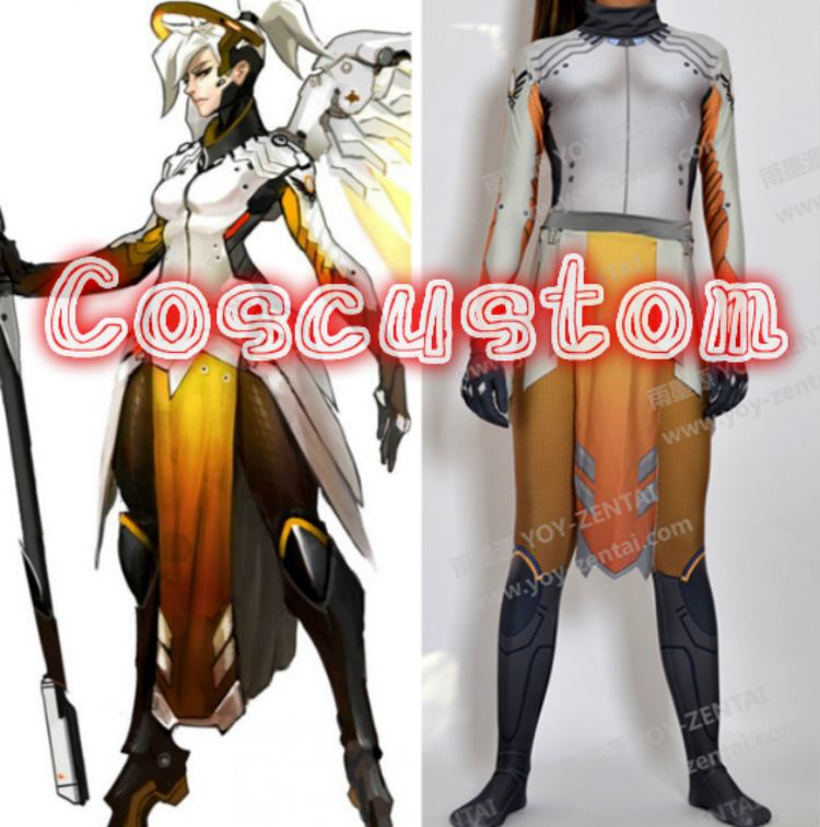 Coscustom High Quality Game OW Mercy Costume Spandex Lycra Suit Mercy full set Halloween Cosplay Costume