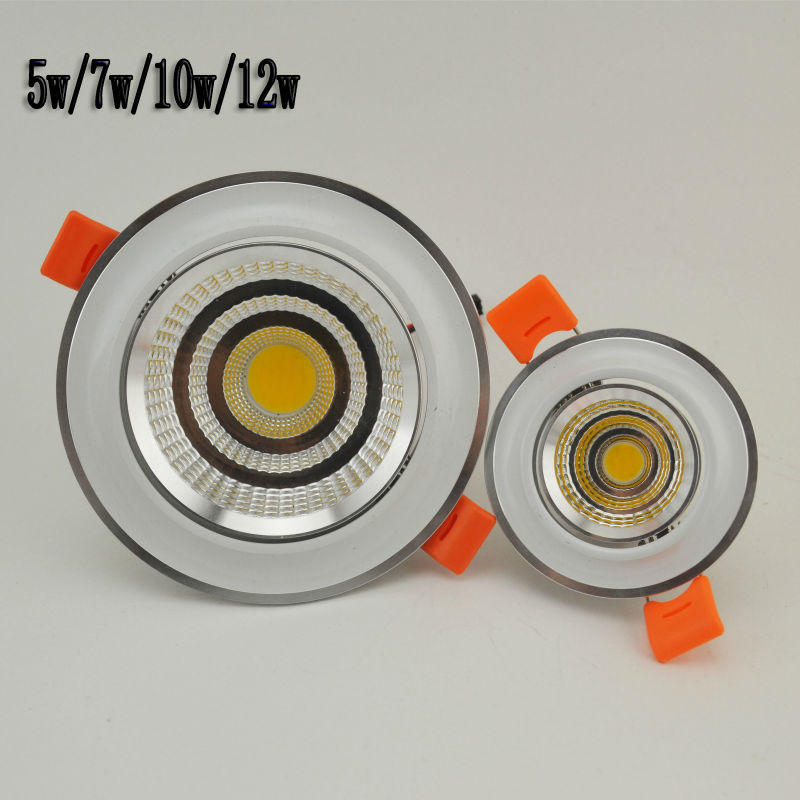 New LED COB Ceiling light 5W7W10W12W COB Chip LED Recessed Downlight Spot Light Lamp White Warm