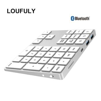 цена на 2 in 1 USB C 3.1 HUB Wireless Numeric Keypad Bluetooth 34 keys Numpad Type C Keypad Wireless For Android Phone For Apple Acount