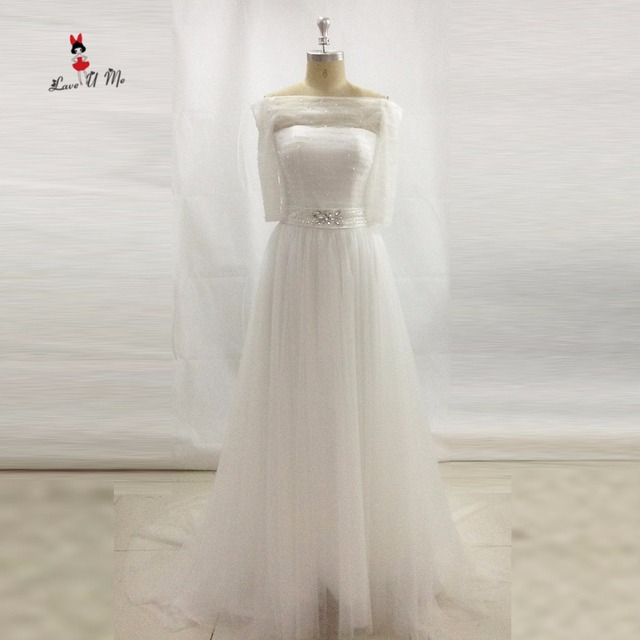 Simple Cheap Wedding Dress Imported China Bridal Gowns Off Shoulder Half Sleeve Crystal Belt Gown