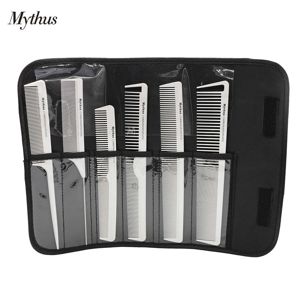 6 Piece Salon Hair Comb Set Barber Cutting Combs Hair Brush Kit With Pouch Anti Static Carbon Hair Comb Hair Styling Tools White