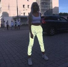 2019 autumn winter flash reflective jogger pants women casual gray solid streetwear trousers Loose Pants Street Wear