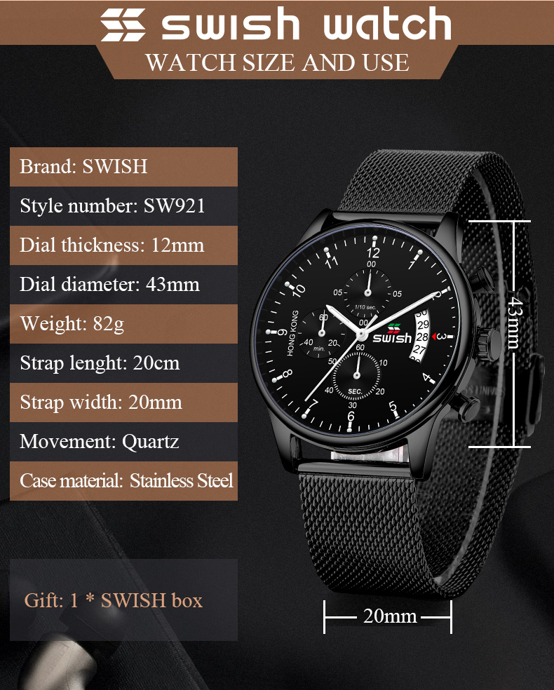 Swish Watch Size and Use - MiraShop