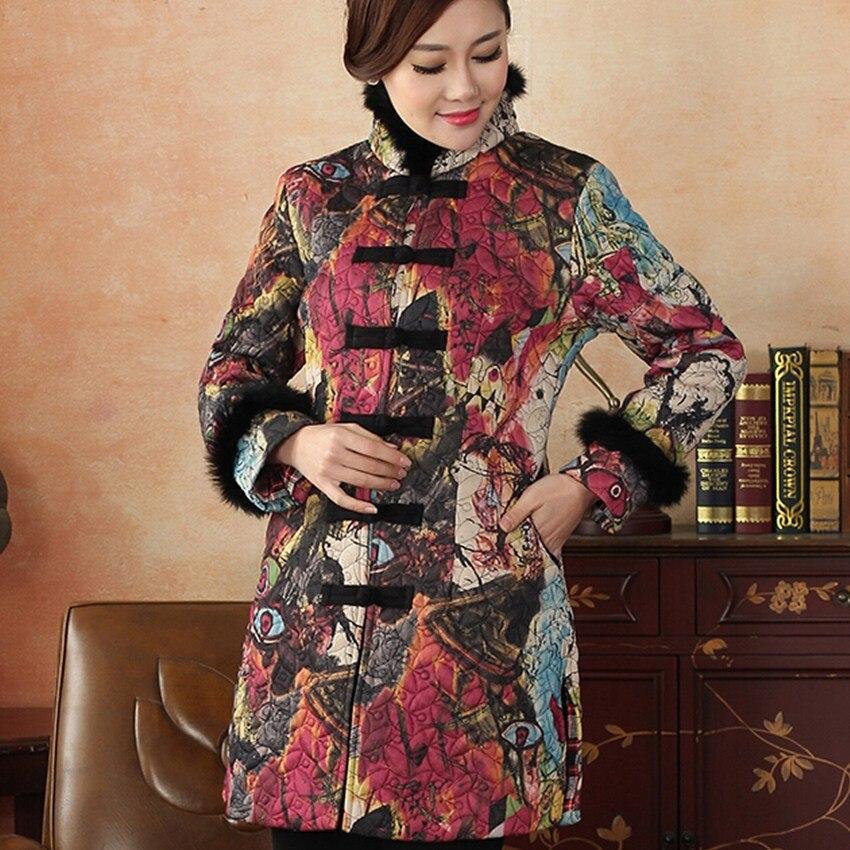 Nueva llegada del invierno del otoño cuello de pelo chino tradicional de las muj