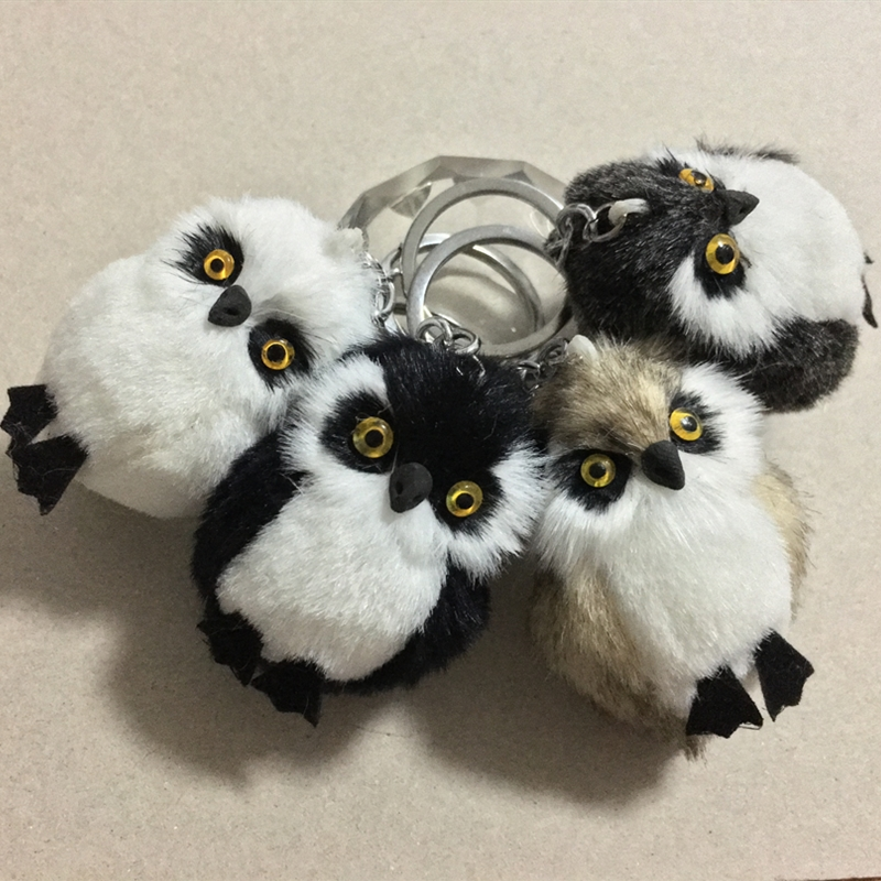 New Fashion Cute Owl Plush Toy Key Chain Ring Faux Rex Rabbit Fur Keychain Woman Bag Charms Man Car Keyring Wedding Party Gift