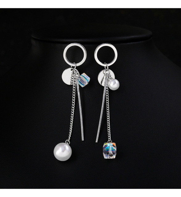 Sterling Silver Needle Cube Sugar Earrings Circle Colorful Crystal Immitation Pearl Anti-allergy Tassel Eardrop Women