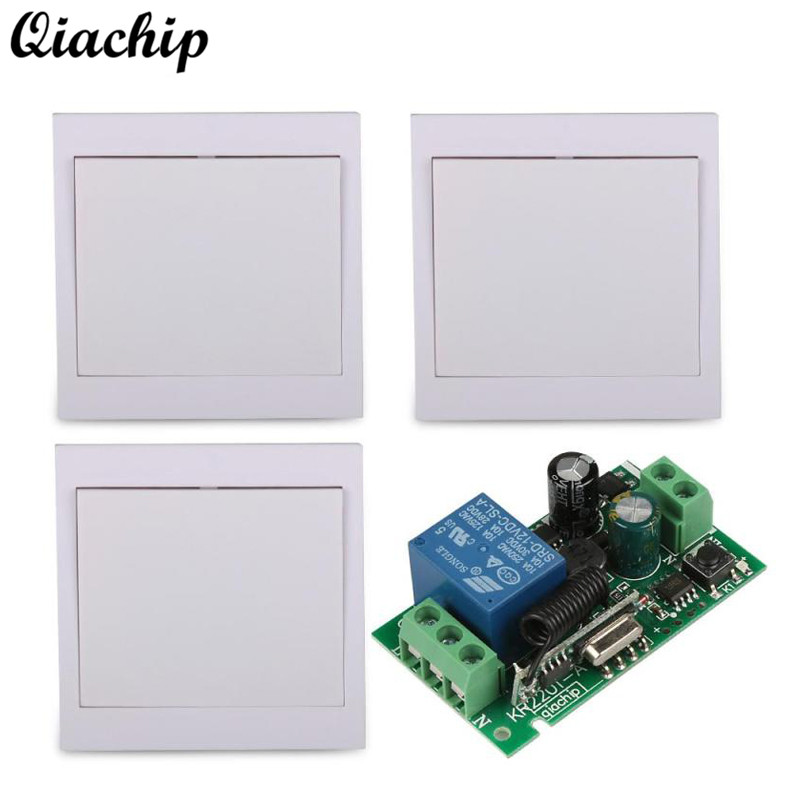 433MHz 1CH Buttons Wall Panel Transmitter Remote Control Switch 433 MHz 220V Relay Receiver Light Module for Living Room Bedroom 3channel wall panel remote transmitter 433mhz rf tx remote control home light switch and 433 mhz 220v 1ch relay receiver module