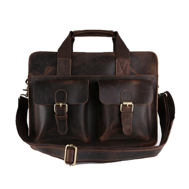 ROCKCOW Men Bags Genuine Leather Briefcase Men's Business Laptop Bag Man Crossbody Shoulder Handbag Real Leather Men Bags 6132 genuine leather men bags messenger bag leather man shoulder crossbody mens bag business laptop briefcase men handbag laptop bags