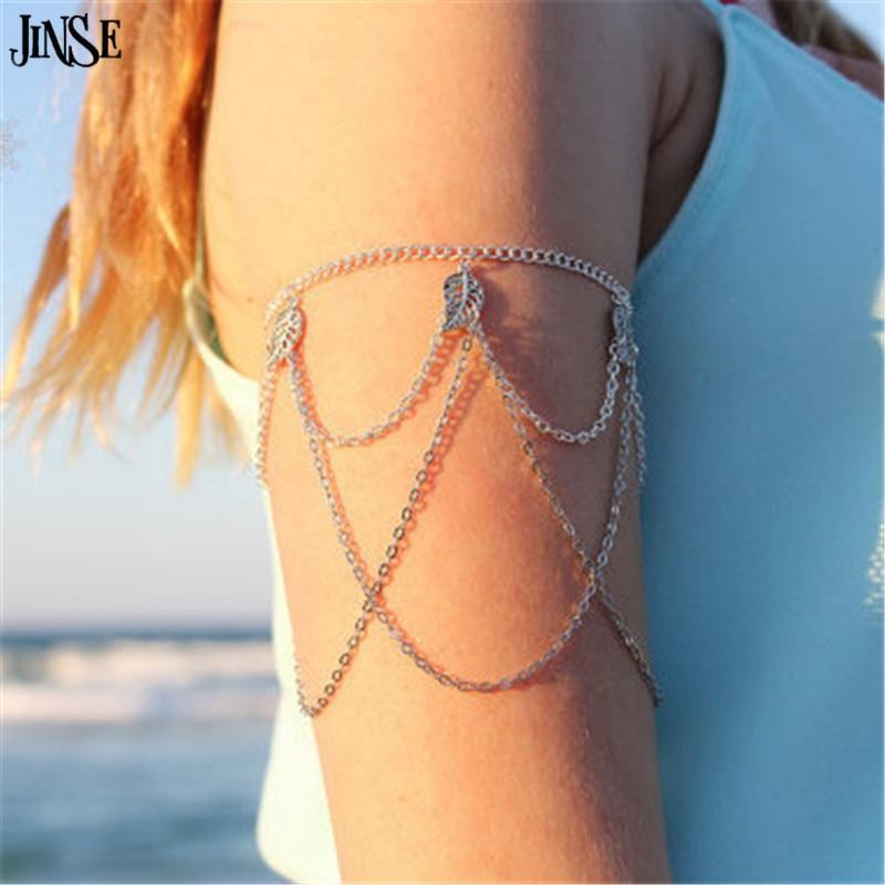 HC005 Vintage Accessories Antique Silver Metal Leaf Tassel Chain Bracelet Upper Arm Bracelets Bangle for Women