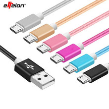 Ffelon 25cm Short Micro USB Cable 2A Braided Data Synchronous Charger Cable for xiaomi Powerbank Cable