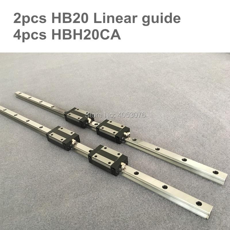 HGR 2 pcs linear guide HB20-L750-1050mm Linear rail and 4 pcs HBH20CA linear bearing blocks for CNC parts