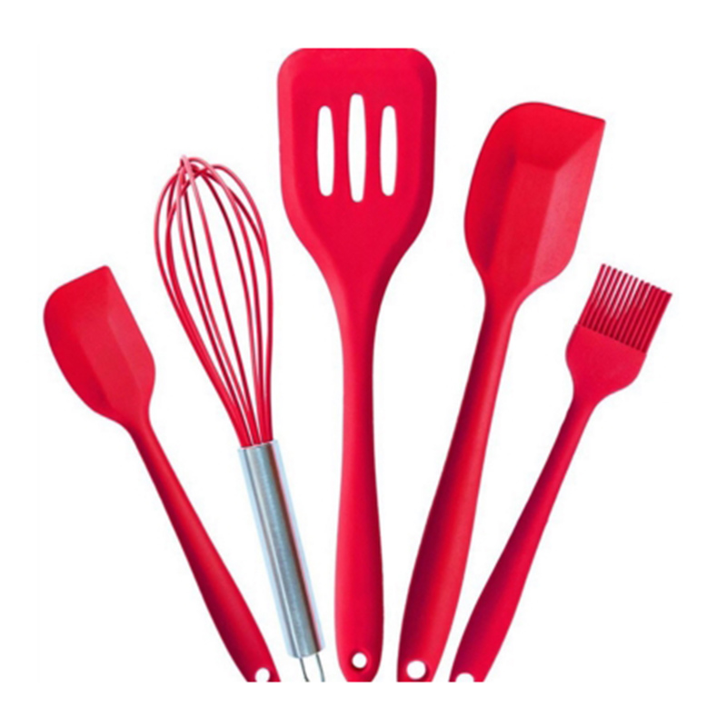 5pcs set Silicone font b Cookware b font Cooking Tools Set Kitchenware Spatula Egg Whisk Brush