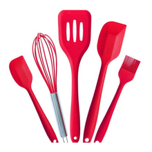 5pcs/set Silicone Cookware Cooking Tools Set Kitchenware Spatula Egg Whisk Brush Slotted Turner Sets Kitchen Utensils 5 piece