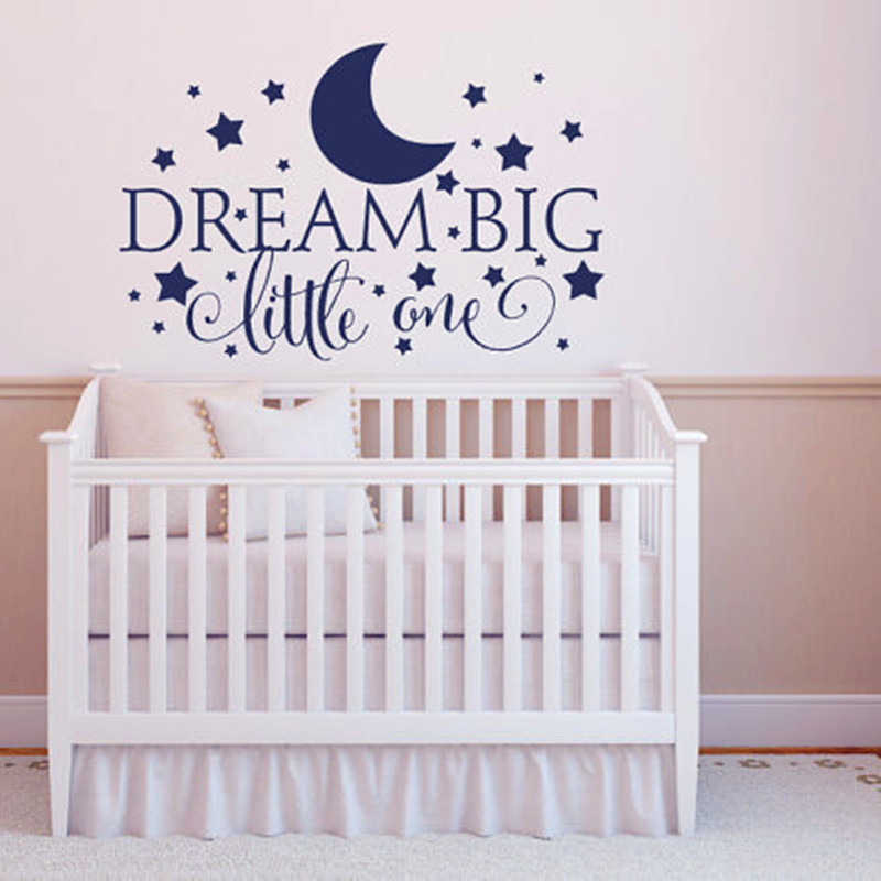 Dream Big Little One Quotes Wall Decal, Nursery Wall Sticker Baby Nursery  Bedroom Art Decor, Kids Wall Sticker Stars Wall Decals In Wall Stickers  From Home ...