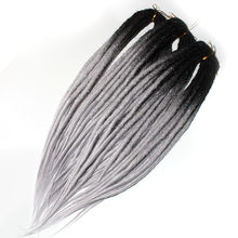 Cabelo sintético de crochê qp, cabelo sintético trançado pré-estirado, fechadura dupla
